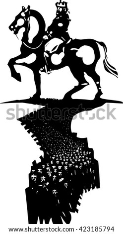 Woodcut style expressionist image of crowd of people before a huge statue of a king on horseback. - stock vector
