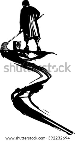Woodcut style expressionist image of maid or scrub woman whose mop trails ink or oil. - stock vector