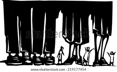 Woodcut style expressionist image of small people wandering among giant legs. - stock vector