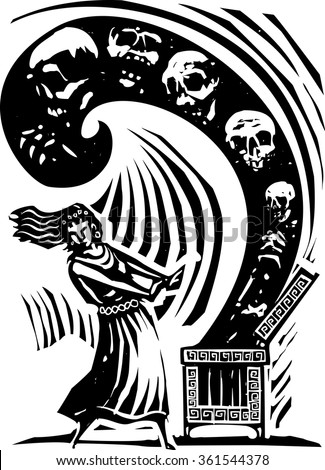Woodcut style expressionist image of the Greek Myth of Pandora opening the box of the world's ills