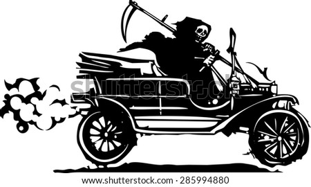 Woodcut style expressionist image of the grim reaper death driving a vintage car - stock vector