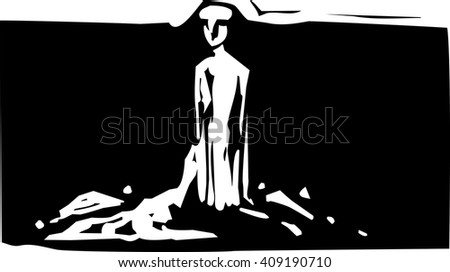 Woodcut style expressionistic image of a sculpture of a clay man - stock vector