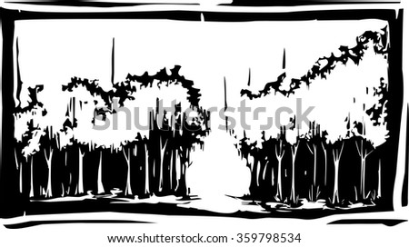 Woodcut style forest with a path in through the grove - stock vector