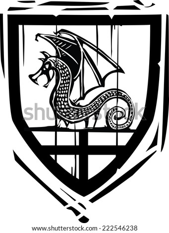 Woodcut style Heraldic Shield with a Dragon - stock vector