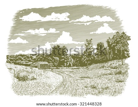 Woodcut-style illustration of a dirt road leading back to an old barn. - stock vector