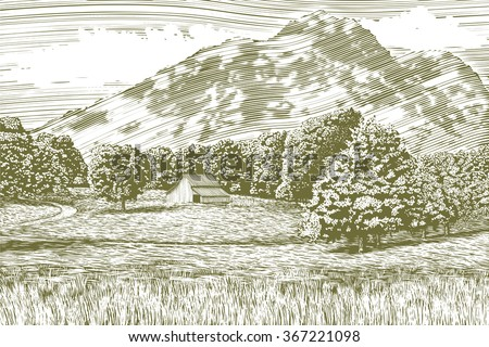 Woodcut-style illustration of a farm and barn with a mountain in the background. - stock vector