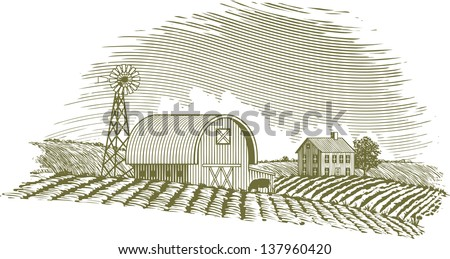 Woodcut style illustration of a farm scene with a windmill. - stock vector