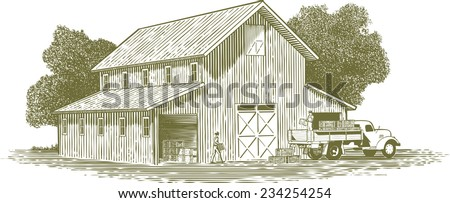 Woodcut-style illustration of farmers loading crates of produce on to a truck with a barn in the background. - stock vector