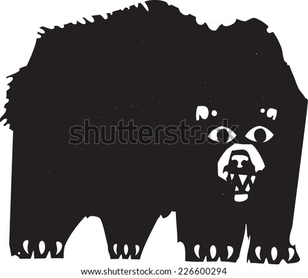 Woodcut style image of a a growling black bear. - stock vector
