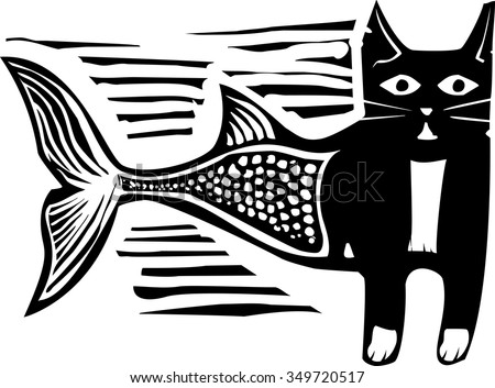 Woodcut style image of a catfish mermaid