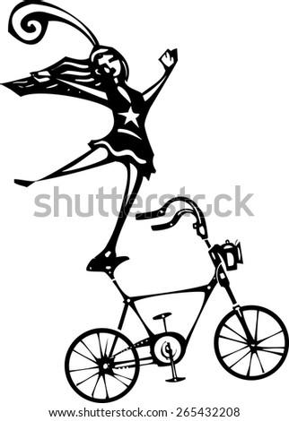 Woodcut style image of a circus performer balanced on a bicycle. - stock vector