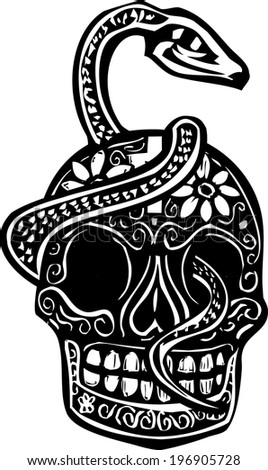 Woodcut style image of a day of the dead Skull wrapped in a serpent. - stock vector
