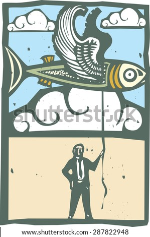 Woodcut style image of a flying fish being held on a string by a man in a business suit. - stock vector