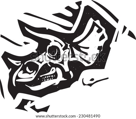 Woodcut style image of a fossil of a Triceratops dinosaur skull - stock vector