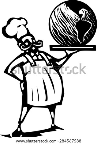 Woodcut style image of a french chef and serving tray with the earth - stock vector