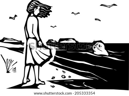 Woodcut style image of a girl on a beach watching a harbor seal in the waves. - stock vector