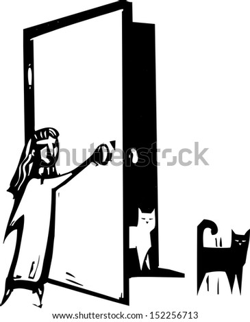 open door clipart black and white. Woodcut Style Image Of A Girl Open Door For Cats. Clipart Black And White H