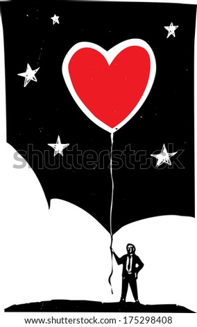 Woodcut style image of a man in a business suit holding a heart shaped balloon. - stock vector