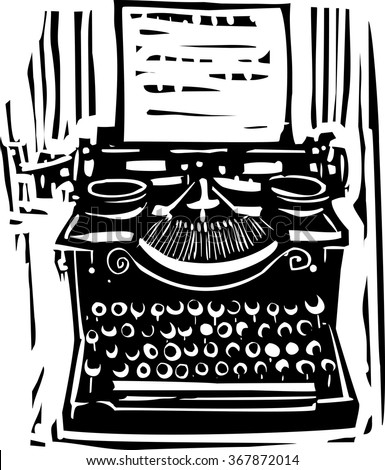 Woodcut style image of a manual typewriter - stock vector