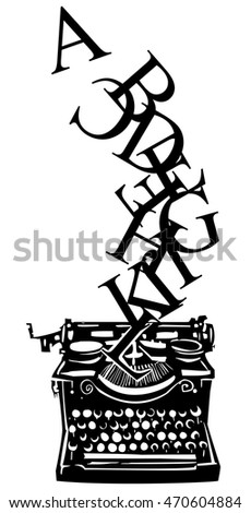 Woodcut style image of a manual typewriter with letters tumbling out of it.