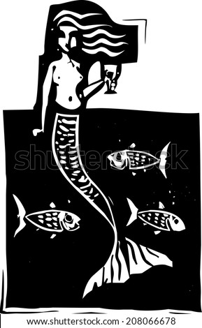 Woodcut style image of a mermaid in the ocean with fish. - stock vector
