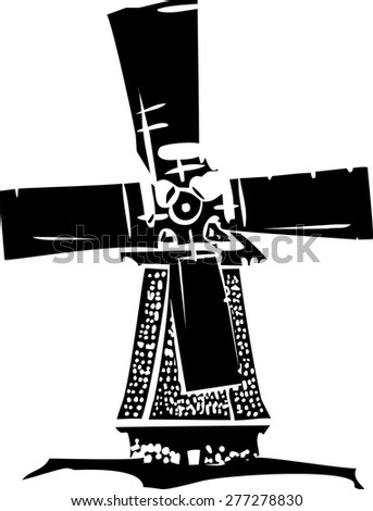Woodcut style image of a old style dutch windmill. - stock vector