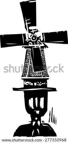 Woodcut style image of a old style dutch windmill on a man's head. - stock vector