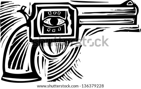 Woodcut style image of a pistol with an eye on the side. - stock vector