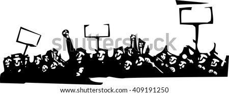 Woodcut style image of a riot or protest - stock vector