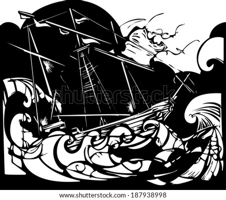 Woodcut style image of a sailing ship in stormy seas. - stock vector