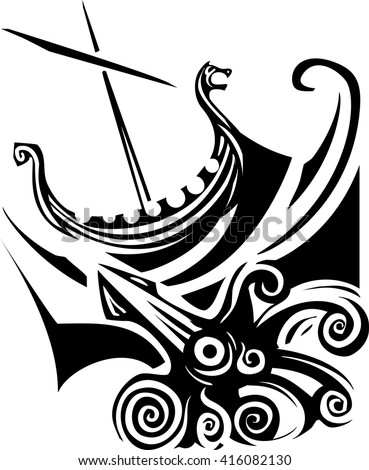 Woodcut style image of a viking longship sailing into the waves - stock vector
