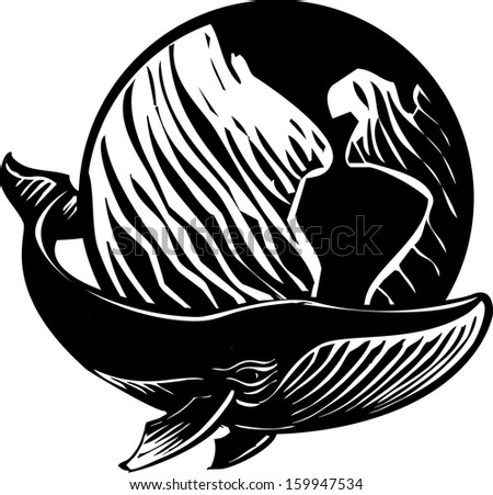 Woodcut style image of a whale and the Earth. - stock vector