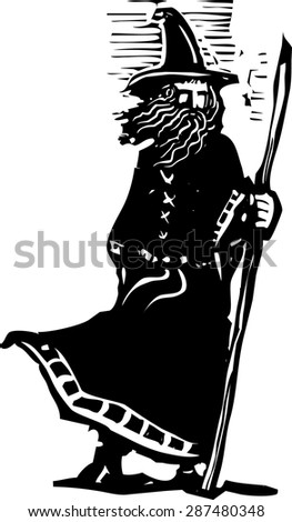 woodcut style image of a wizard holding a magic staff