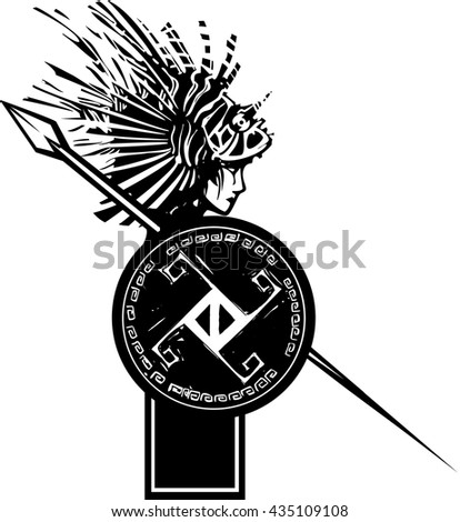 Woodcut style image of Amphitrite the mythological Greek Goddess of the Sea and Neptune's wife. - stock vector
