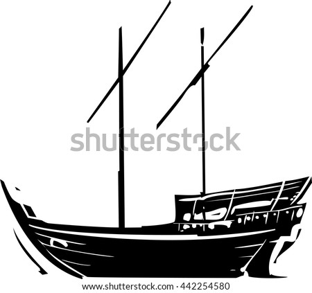 Woodcut style image of an a traditional Arabic ship called a Dhow - stock vector
