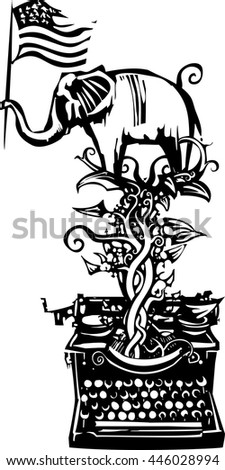 Woodcut Style image of an Elephant waving an American flag emerging from a typewriter - stock vector