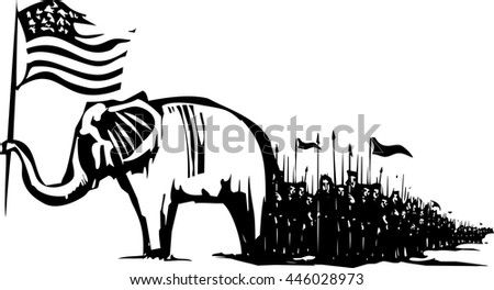 Woodcut Style image of an Elephant waving an American flag leading an army