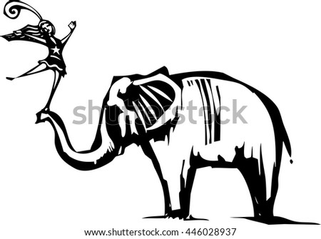 Woodcut Style image of an Elephant with a circus acrobat