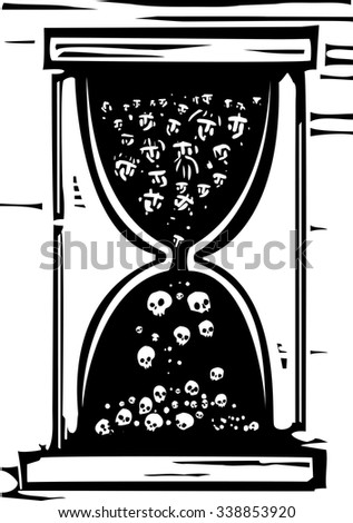 Woodcut style image of an hour glass with people in it becoming skulls