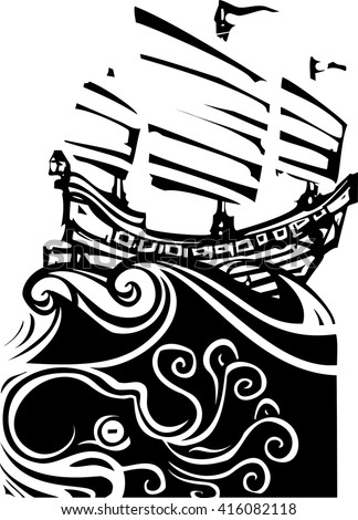 Woodcut style image of chinese sailing ship junk with sea life.