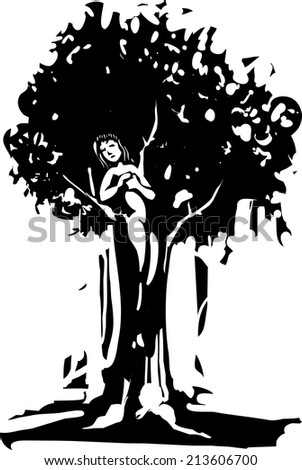 Woodcut style image of the Dryad tree spirit from Greek myth. - stock vector