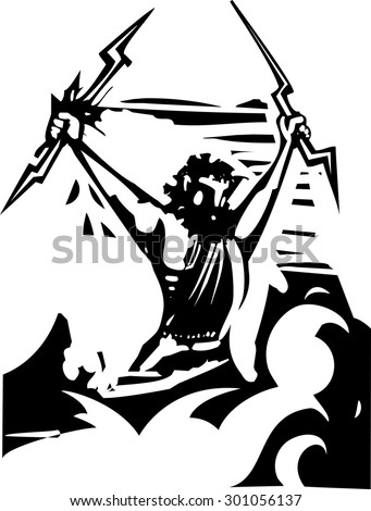 Woodcut style image of the Greek Olympian God Zeus