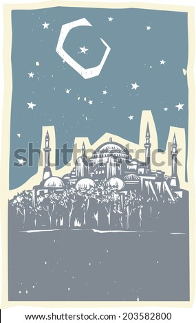 Woodcut style image of the Greek Orthodox church turned Mosque in Istanbul Turkey. - stock vector