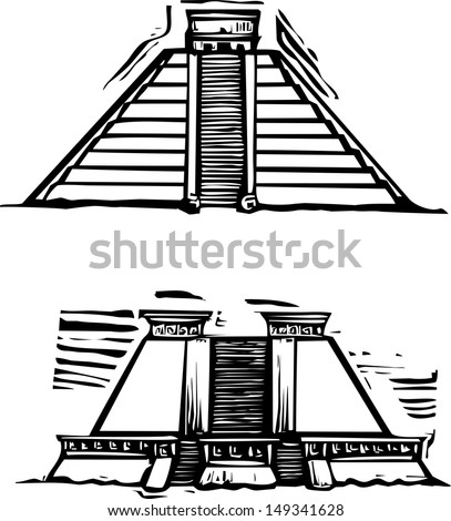 Woodcut style image of the Mayan Pyramids at El Tajin and Chichen Itza in Mexico. - stock vector