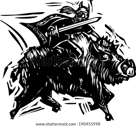 Woodcut style image of the Norse God Frey or Freyr rides on the back of dwarf made boar Gullinbursti. - stock vector