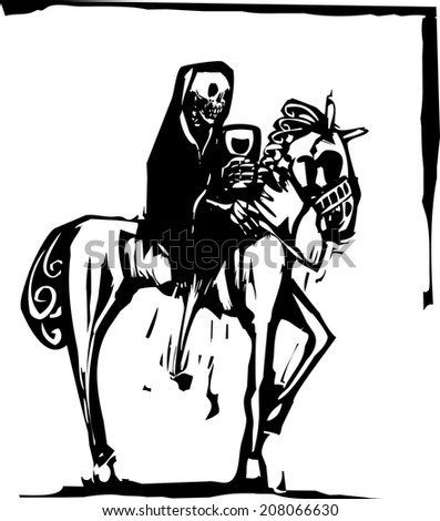 woodcut style image of the skeleton death riding a horse and drinking wine. - stock vector