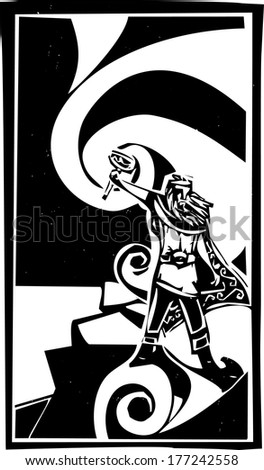 Woodcut style image of the Viking God Thor with swirling clouds. - stock vector