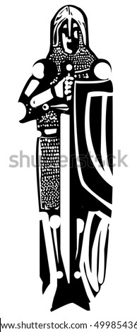 Woodcut style medieval knight like one might see in a cathedral tomb.