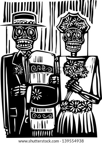 woodcut style Mexican day of the dead wedding image with groom and bride. - stock vector