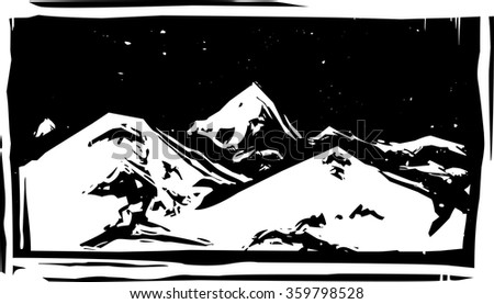 Woodcut style mountain range with snowy peaks - stock vector